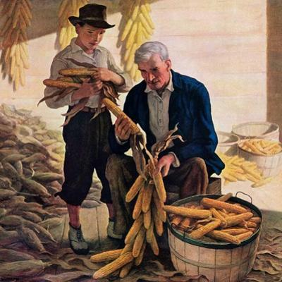 """Drying Field Corn,""November 1, 1944 by Newell Convers Wyeth"