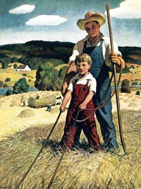 """Father and Son on Hay Wagon,""June 1, 1944 by Newell Convers Wyeth"