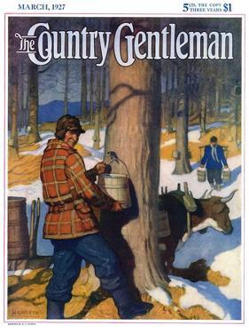 """Gathering Maple Syrup,"" Country Gentleman Cover, March 1, 1927 by Newell Convers Wyeth"