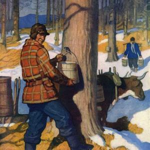 """""""Gathering Maple Syrup,""""March 1, 1927 by Newell Convers Wyeth"""