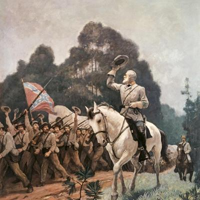 General Robert Lee Saluting Troops Heading to Front by Newell Convers Wyeth