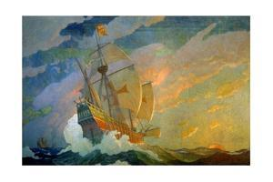 N.C. Wyeth Painting, the Caravels of Columbus by Newell Convers Wyeth