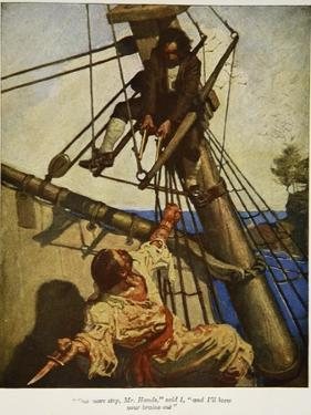 """""""One more step, Mr. Hands ? and I'll blow your brains out"""", Illustration from 'Treasure Island by Newell Convers Wyeth"""