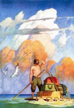 Robinson Crusoe's Raft by Newell Convers Wyeth