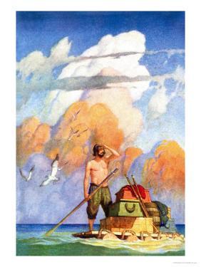 Robinson Crusoe's Raft by Newell Convers Wyeth