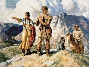 Sacagawea with Lewis and Clark During Their Expedition of 1804-06 by Newell Convers Wyeth