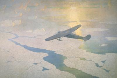 The Valiant Byrd Airplane Soars under the Glow of the Midnight Sun by Newell Convers Wyeth