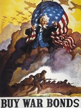 World War Ii Bond Poster by Newell Convers Wyeth