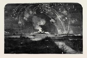 News of the Fall of Sebastopol, Shower of Parachute Rockets and Bonfire, in Woolwich Marshes