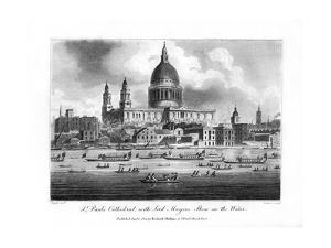 St Paul's Cathedral, with the Lord Mayor's Show on the Water, London, 1804 by Newton
