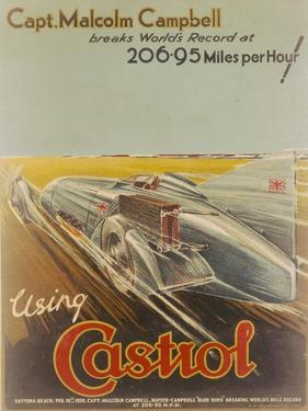 Poster Advertising Castrol, Featuring Bluebird, 1928 by NF Humphries