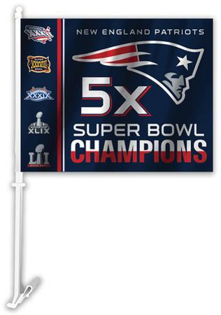 NFL New England Patriots 5x Super Bowl Champions Car Flag