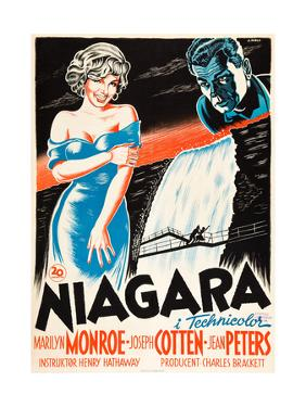 Niagara, L-R: Marilyn Monroe, Joseph Cotten on Danish Poster Art, 1953
