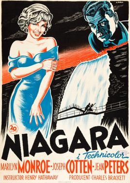 Niagara, L-R: Marilyn Monroe, Joseph Cotten on Danish Poster Art, 1953