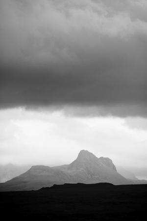 Silhouette of Stac Pollaidh Against Storm Sky, Viewed from Tanera More, Coigach and Assynt, UK