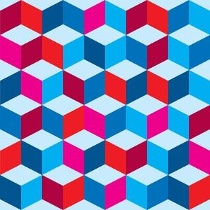 Optical Illusion Background In Red White And Blue With Seamless Pattern by nicemonkey