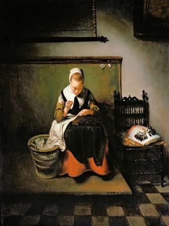 A Young Woman Sewing, 1655 by Nicholaes Maes