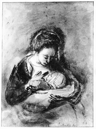 Mother and Child, C.1655 (Pen, Ink and Wash on Paper) by Nicholaes Maes