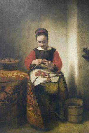 Young Girl Peeling Apples by Nicholaes Maes
