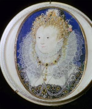 Contemporary miniature portrait of Elizabeth I of England. Artist: Nicholas Hilliard by Nicholas Hilliard