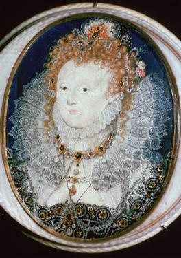 Miniature portrait of Queen Elizabeth I, 16th century by Nicholas Hilliard