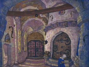 In the Monastery. Stage Design for the Opera Sister Beatrice by A. Davydov, 1914 by Nicholas Roerich