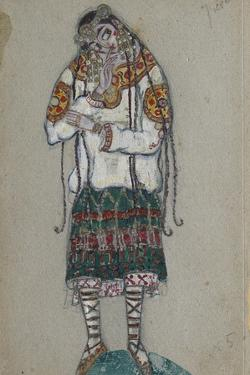 The Girl. Costume Design for the Ballet the Rite of Spring (Le Sacre Du Printemp), 1912 by Nicholas Roerich