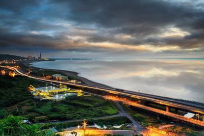 Panoramic View of Beach Skyline and Highway by NicholasHan