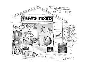 "A man holding a tire walks into ""Flats Fixed"" Repair Shop, to find a man i? - New Yorker Cartoon by Nick Downes"