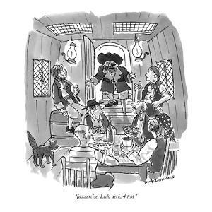 """Jazzercise, Lido deck, 4 P.M."" - New Yorker Cartoon by Nick Downes"