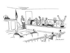 Jury spells out 'guilty' with their bodies. - New Yorker Cartoon by Nick Downes