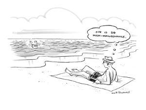 Man lying on beach, watching his wife drown, thinks to himself, 'She is so… - New Yorker Cartoon by Nick Downes