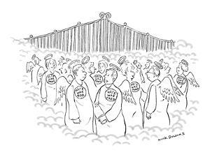 People, mingling in Heaven, wearing buttons that read, 'Hi! I was Bob,'  '… - New Yorker Cartoon by Nick Downes