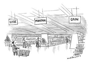 Three signs hang over three aisles in a supermarket. - New Yorker Cartoon by Nick Downes
