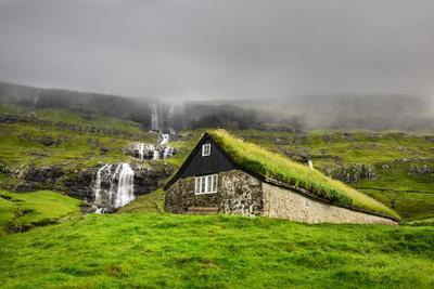 Historic Stone House with Turf Roof on the Island of Streymoy, Saksun, Faroe Islands