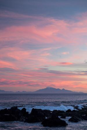 Kaikoura Ranges in South Island at Sunset from Wellington, North Island, New Zealand, Pacific