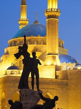 Lebanon, Beirut, Statue in Martyr's Square and Mohammed Al-Amin Mosque at Dusk by Nick Ledger