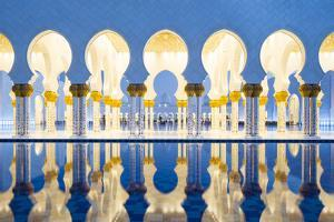 United Arab Emirates, Abu Dhabi. the Water Pools of Sheikh Zayed Grand Mosque by Nick Ledger