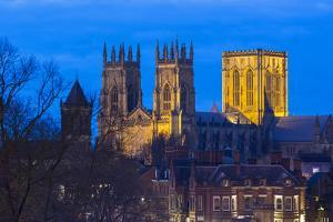 United Kingdom, England, North Yorkshire, York. The Minster seen from the City Walls at dusk. by Nick Ledger