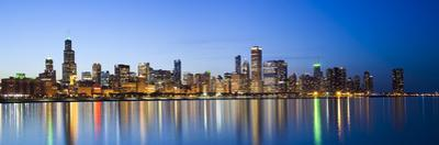 USA, Illinois, Chicago, Dusk View of the Skyline from Lake Michigan