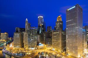 USA, Illinois, Chicago. Night Time View over the City. by Nick Ledger