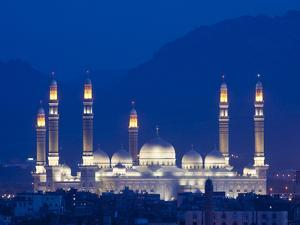 Yemen, Sana'A, Al-Saleh Mosque at Dusk by Nick Ledger