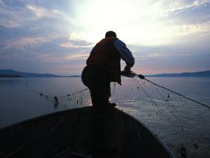 First Nation Pulls His Nets at Mouth of Restigouche River, Restigouche River, Quebec, Canada by Nick Norman