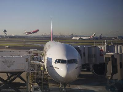 Boeing 777-300 ER Jet Airliner of Emirates Airline at Gate, Sydney Airport, Australia