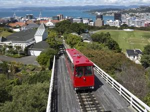 Cable Car and View over Wellington City and Harbour, North Island, New Zealand, Pacific by Nick Servian
