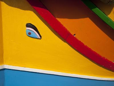 Close-Up of Eye of Osiris on Fishing Boat, Marsaxlokk, Malta, Mediterranean, Europe