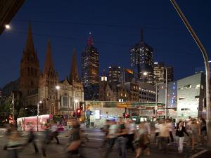 St. Paul's Cathedral and Federation Square at Night, Melbourne, Victoria, Australia, Pacific by Nick Servian