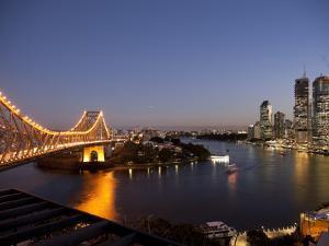 Story Bridge, Kangaroo Point, Brisbane River and City Centre at Night, Brisbane, Queensland, Austra by Nick Servian