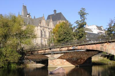 Bridge over the Lahn River and Medieval Old University Buildings, Marburg, Hesse, Germany, Europe
