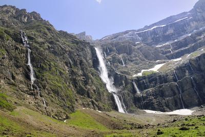 Waterfalls Cascade Down the Karst Limestone Cliffs of the Cirque De Gavarnie